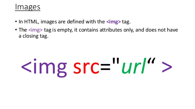 The HTML image tag: img