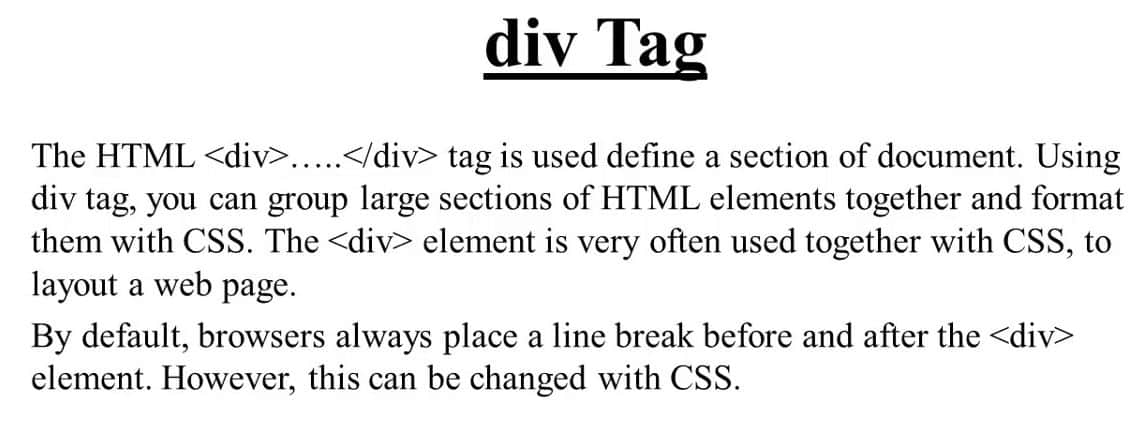 Layout and Design with division tag: div