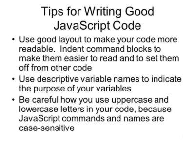 Tips and Tricks for WRITING JAVASCRIPT code