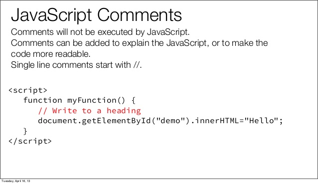 Introduction to JavaScript - Comments