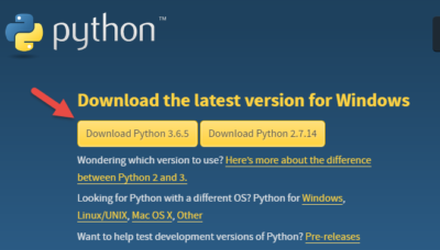 Installing Python version 3.6.5 on Windows