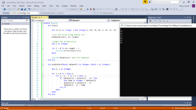 Microsoft Visual Studios VB.NET Bubble Sort Output.