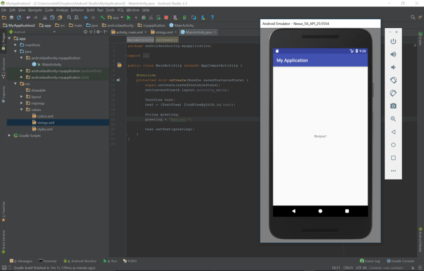 Hello World Android app built with Android Studio