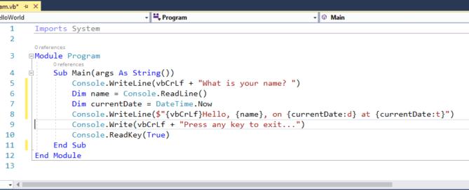 What is entry point method of VB.NET program?