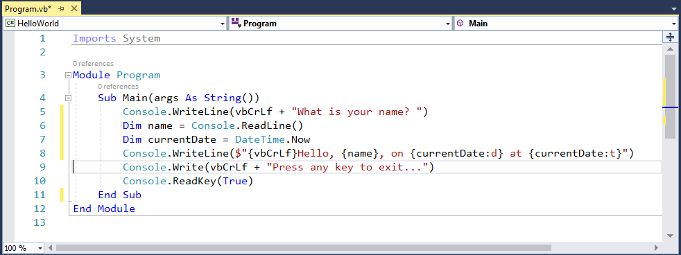 What is entry point method of VB.NET program?
