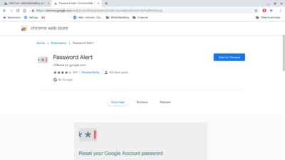 Password Alert Offered by: google.com