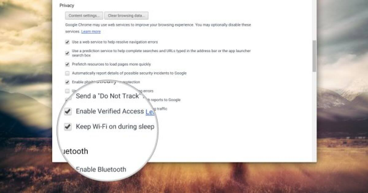 """Keep WiFi on during sleep"" setting for Chromebooks"