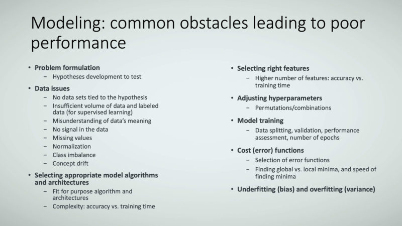 Figure 17: Modeling: common obstacles leading to poor performance.