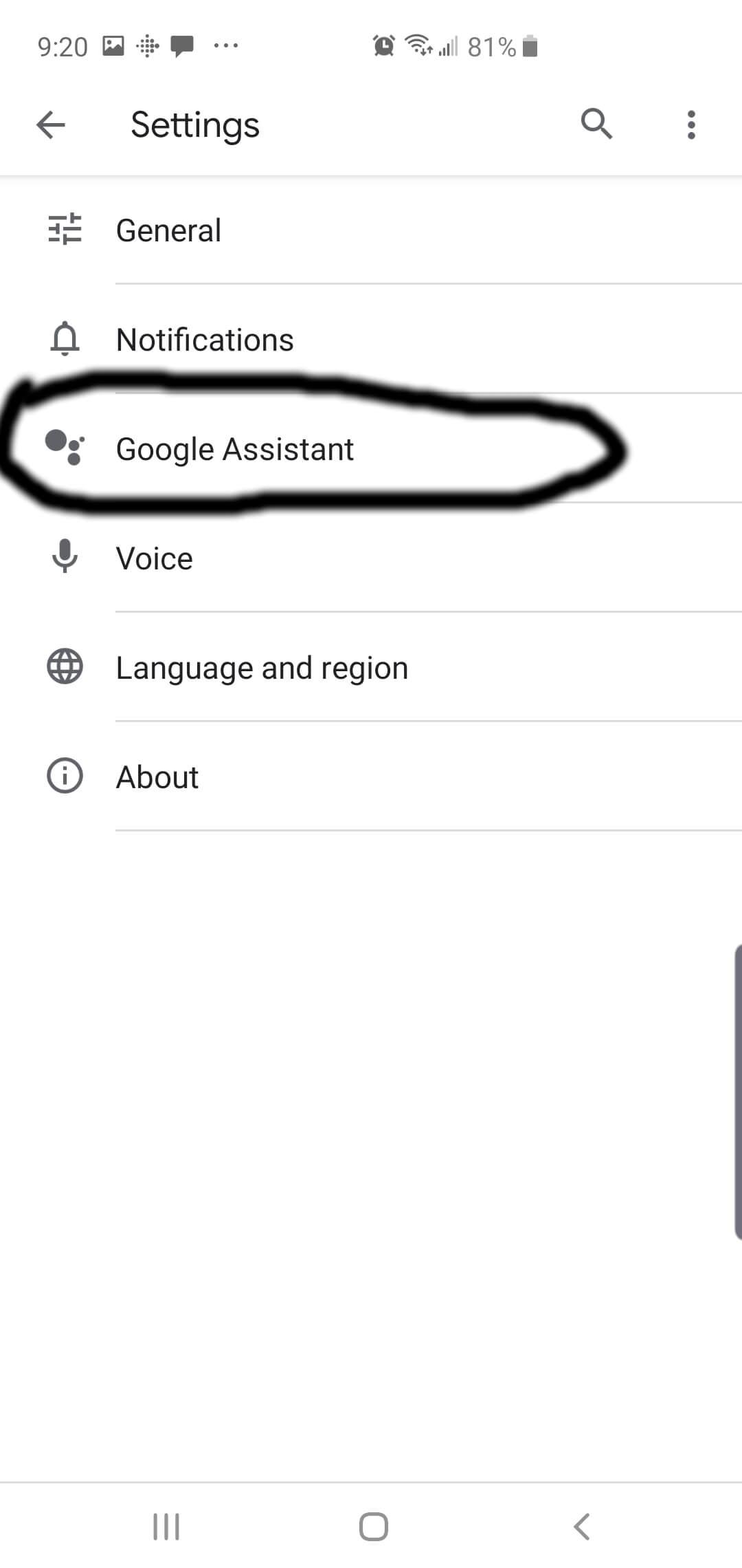 Tap Google Assistant