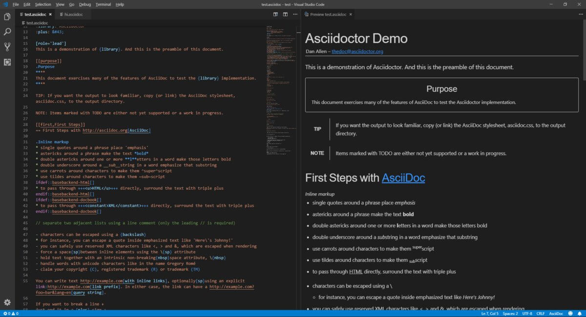Edit syntax-highlighted AsciiDoc files and see a live preview as you go.