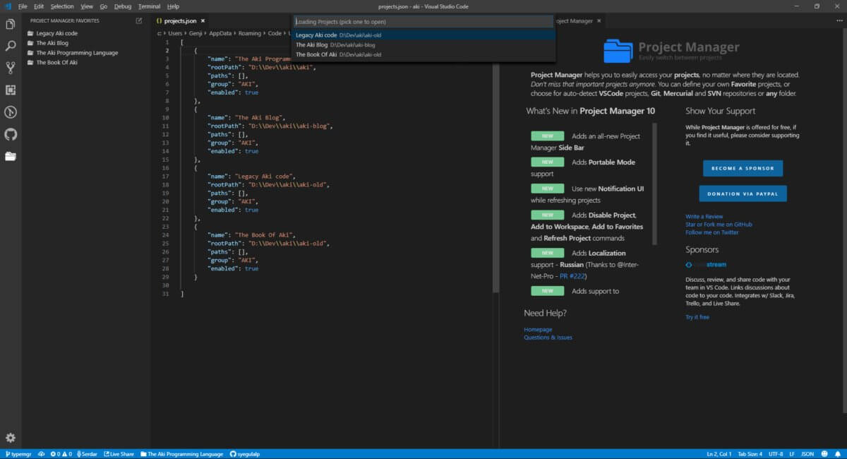 Use the Project Manager extension to switch freely between projects within the same editor instance of Visual Studio Code.