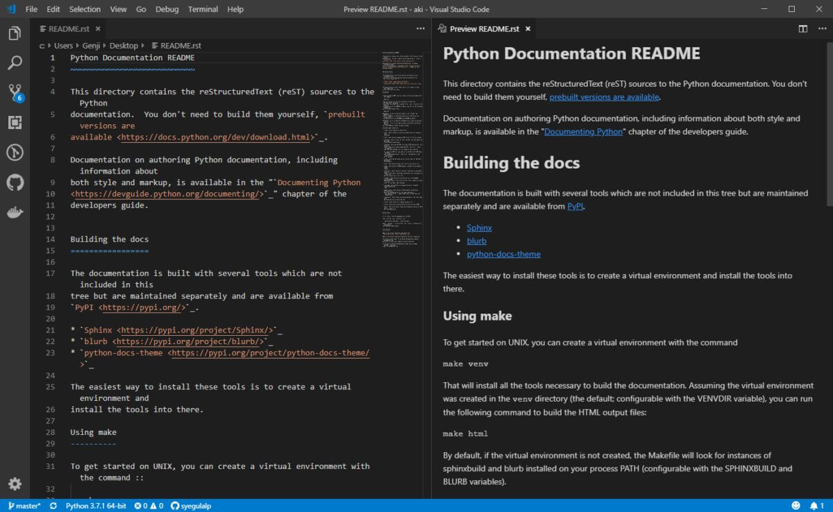 The reStructuredText extension provide syntax highlighting and live preview for the popular documentation format.