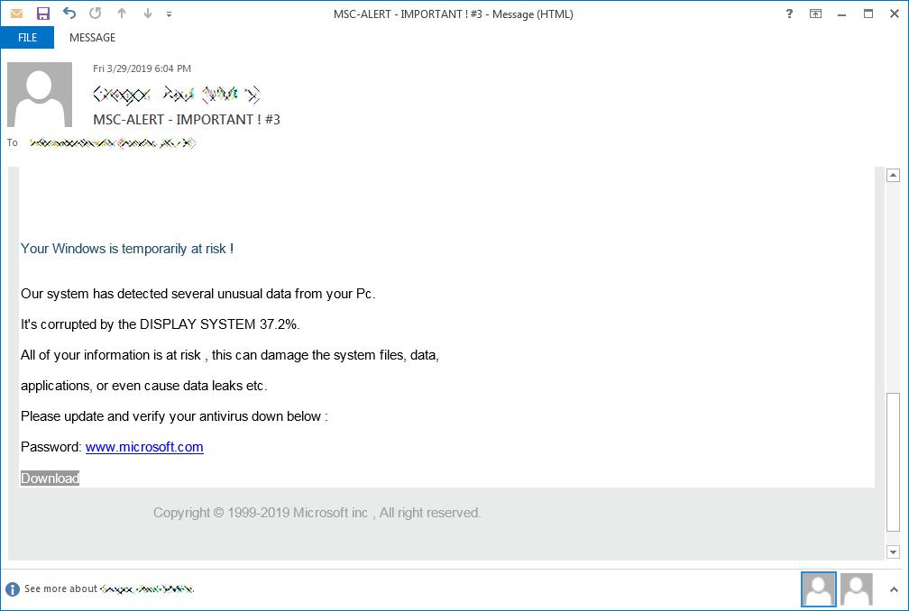 Spam email disributing Dharma