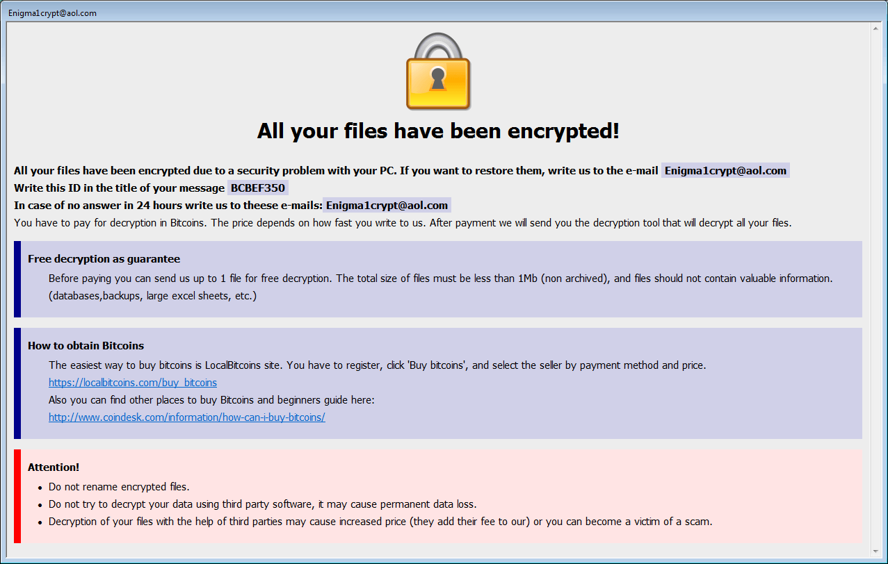 Dharma ransom note - Dharma Ransomware Uses Legit Antivirus Tool To Distract Victims