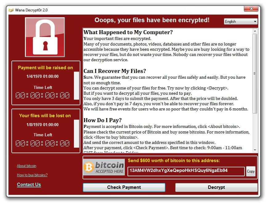 In 2017, a Microsoft Windows based ransomware attack known as WannaCry compromised dozens of hospitals across the UK.
